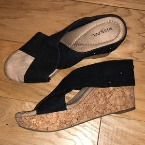 3 for $15 - Merona Black Crossover Strappy Wedge